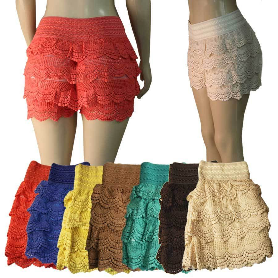 Crochet Shorts Womens Beautiful Women Crochet Lace Shorts Layered Tiered Bottoms Fashion Of Lovely 46 Photos Crochet Shorts Womens