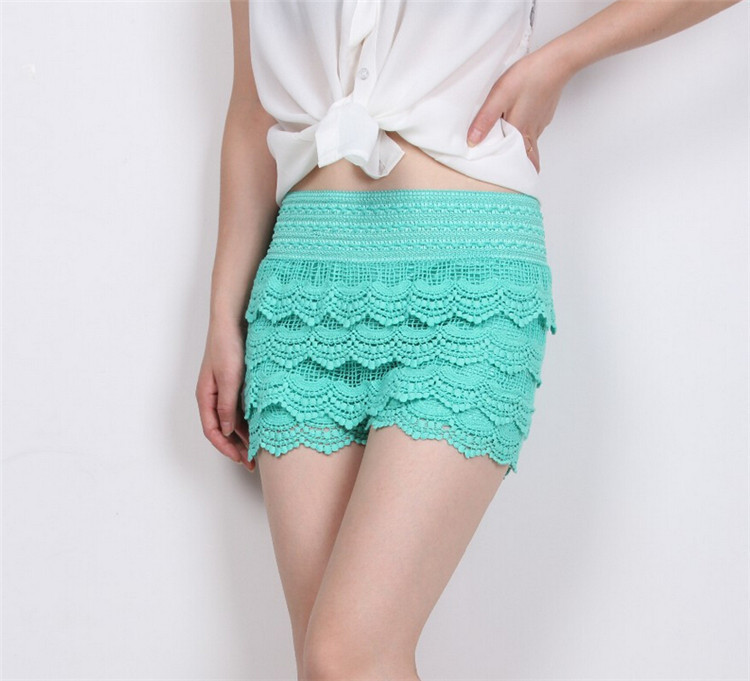 8 Colors New Fashion High Quality Women Lace Shorts Summer