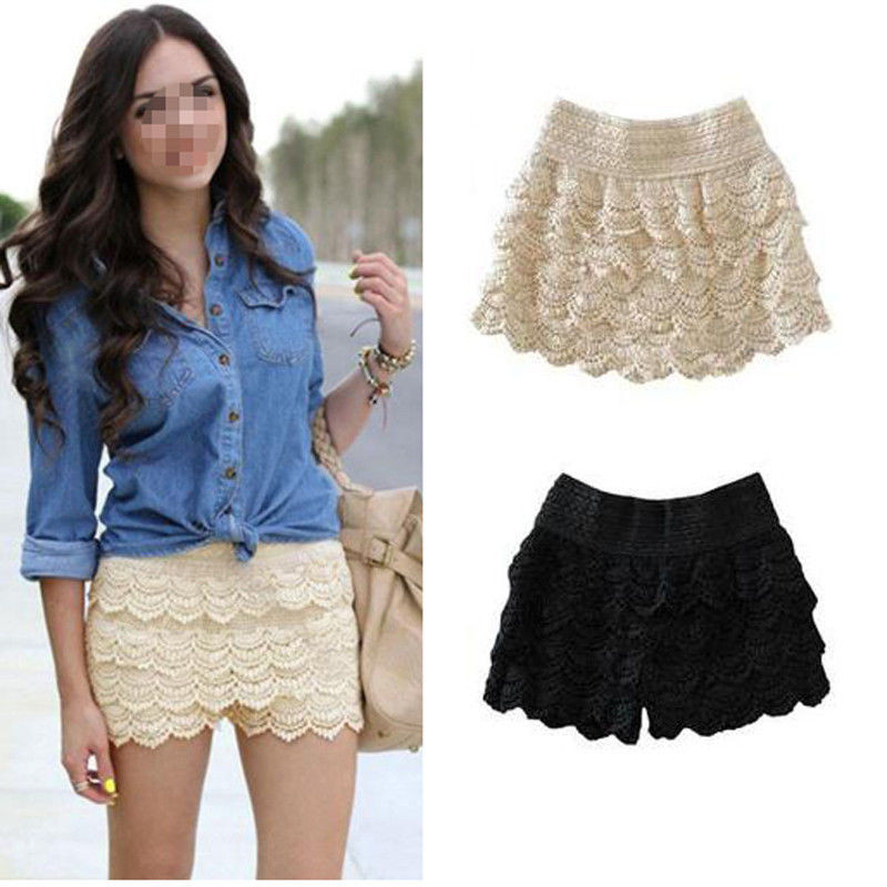 Womens Girls Korean Sweet Cute Crochet Tiered Lace Shorts