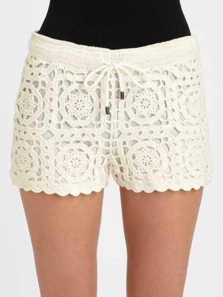 Joie Carmelo Crochet Shorts in Beige porcelain