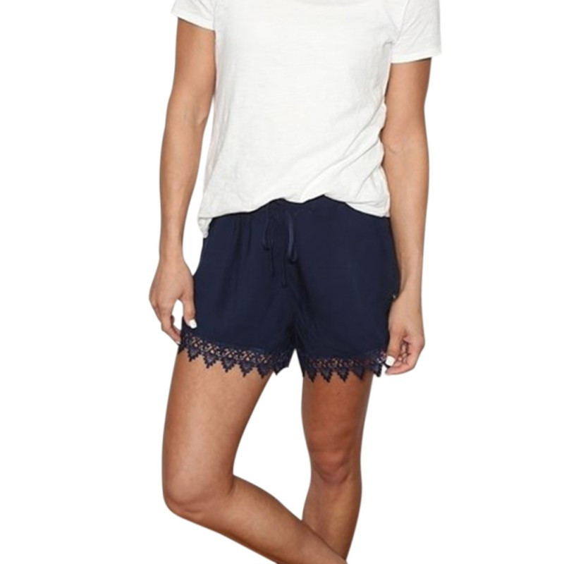Summer Women La s Lace Crochet Shorts Solid Loose Pants