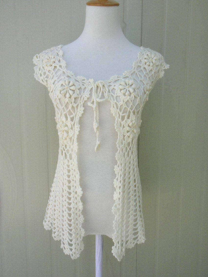 Long Crochet Floral Sleeveless Cardigan Tie Front