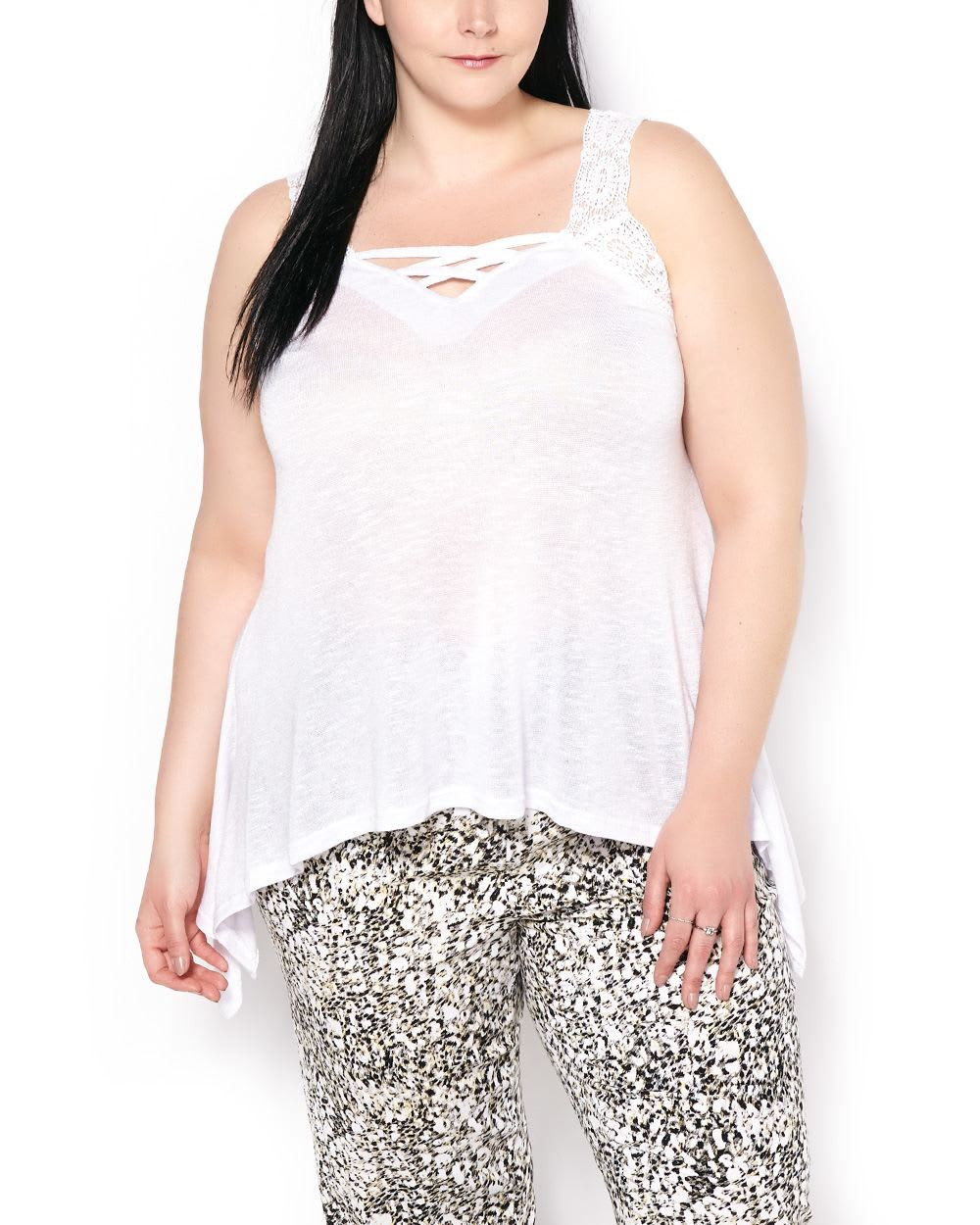 Sleeveless Top with Crochet Lace