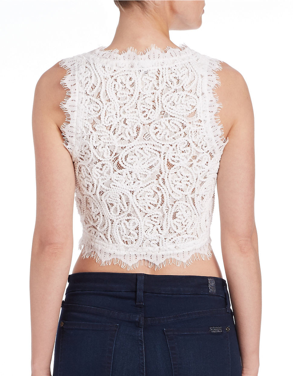 Crochet Sleeveless top Fresh Lyst Lord & Taylor Sleeveless Crochet Lace Crop top In Blue Of Perfect 47 Images Crochet Sleeveless top
