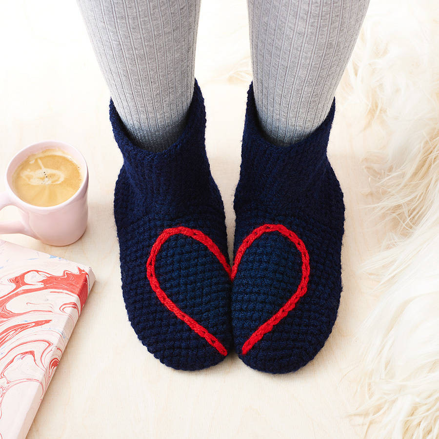 hidden love heart crochet slipper socks by eka