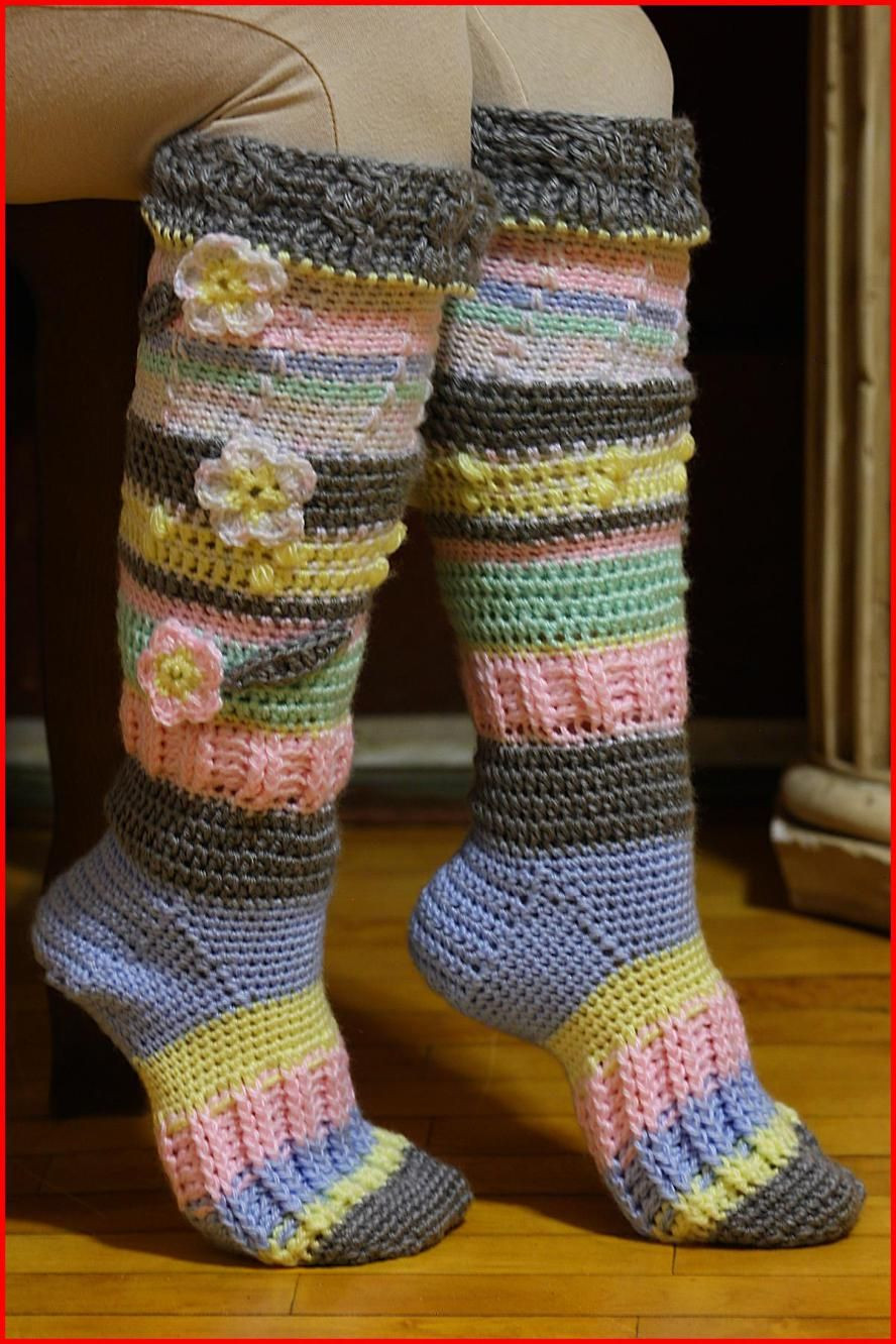 Crochet Slipper socks Inspirational Knee High socks Free Crochet Pattern Of Charming 47 Photos Crochet Slipper socks
