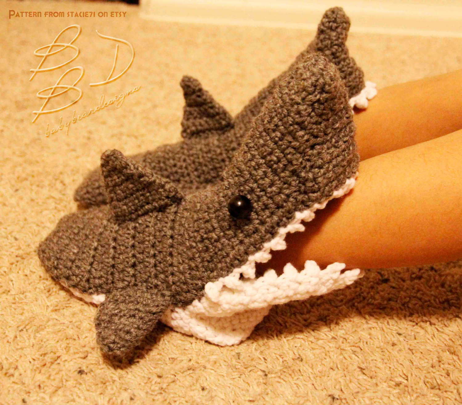 Crochet Slipper socks Luxury Crocheted Shark Slipper socks by Threebabybears On Etsy Of Charming 47 Photos Crochet Slipper socks