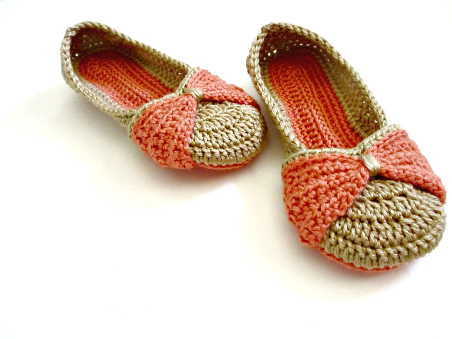 Women s Slippers Bow Slippers Double sole crocheted