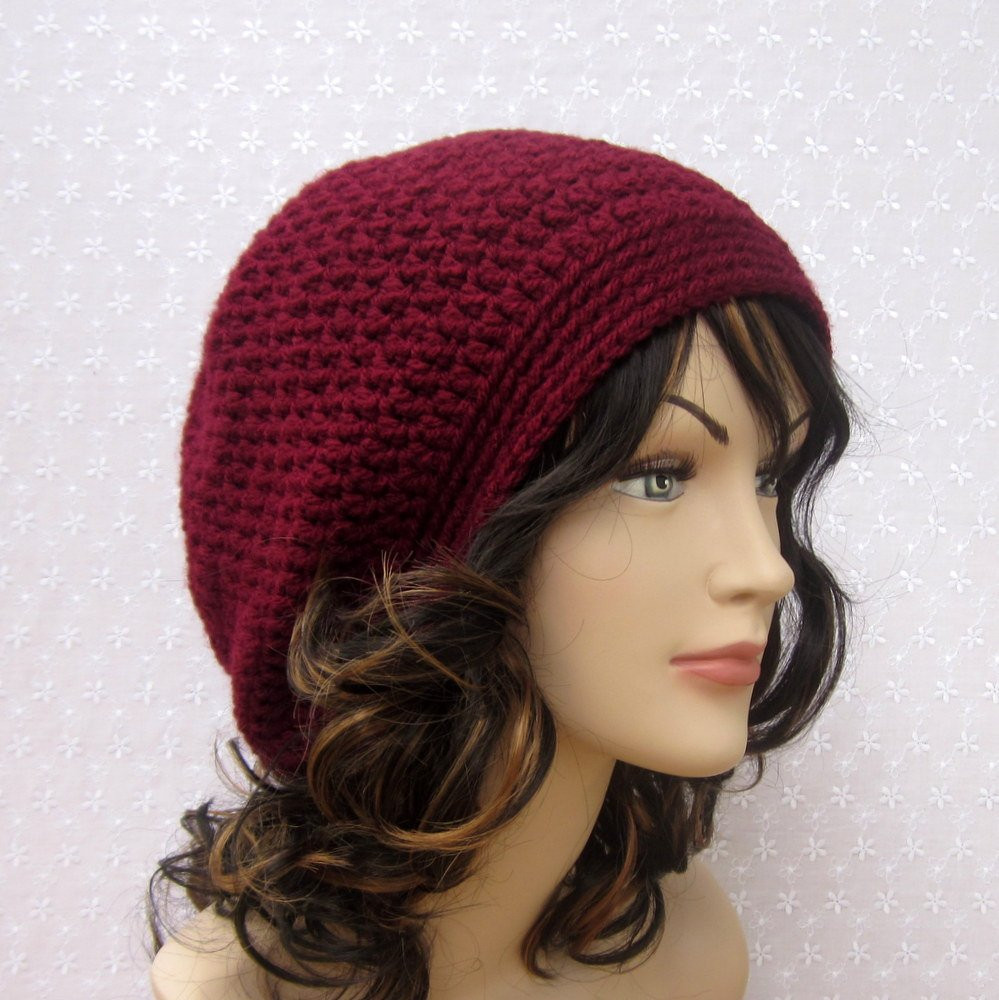 Crochet Slouchy Beanie Fresh Wine Slouchy Crochet Hat Womens Slouch Beanie Burgundy Of Charming 45 Images Crochet Slouchy Beanie