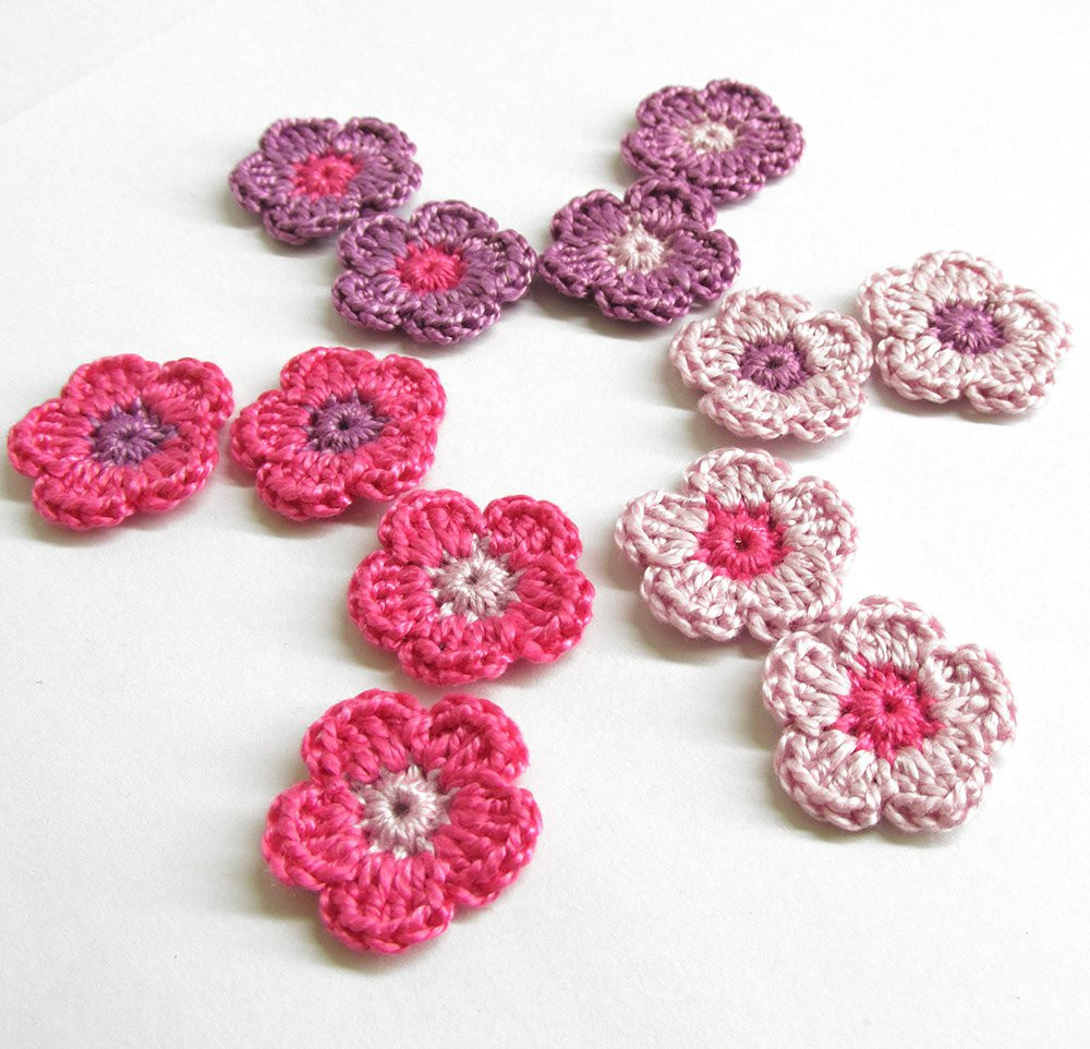 Crochet Small Flower Beautiful Handmade Crocheted Tiny Flower Appliques Set Of Twelve Pink Of Luxury 50 Pictures Crochet Small Flower