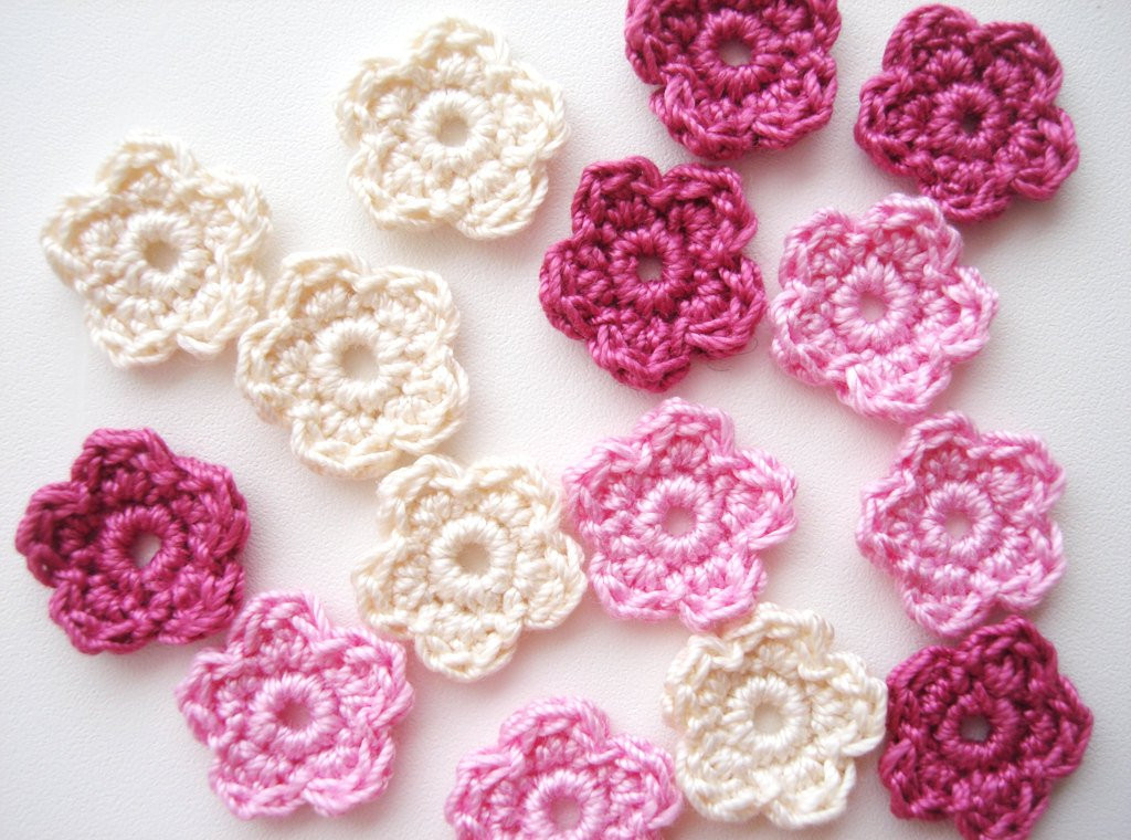 Crochet Small Flower Inspirational Crochet Flower Appliques Tiny Small Flowers Multi by Of Luxury 50 Pictures Crochet Small Flower
