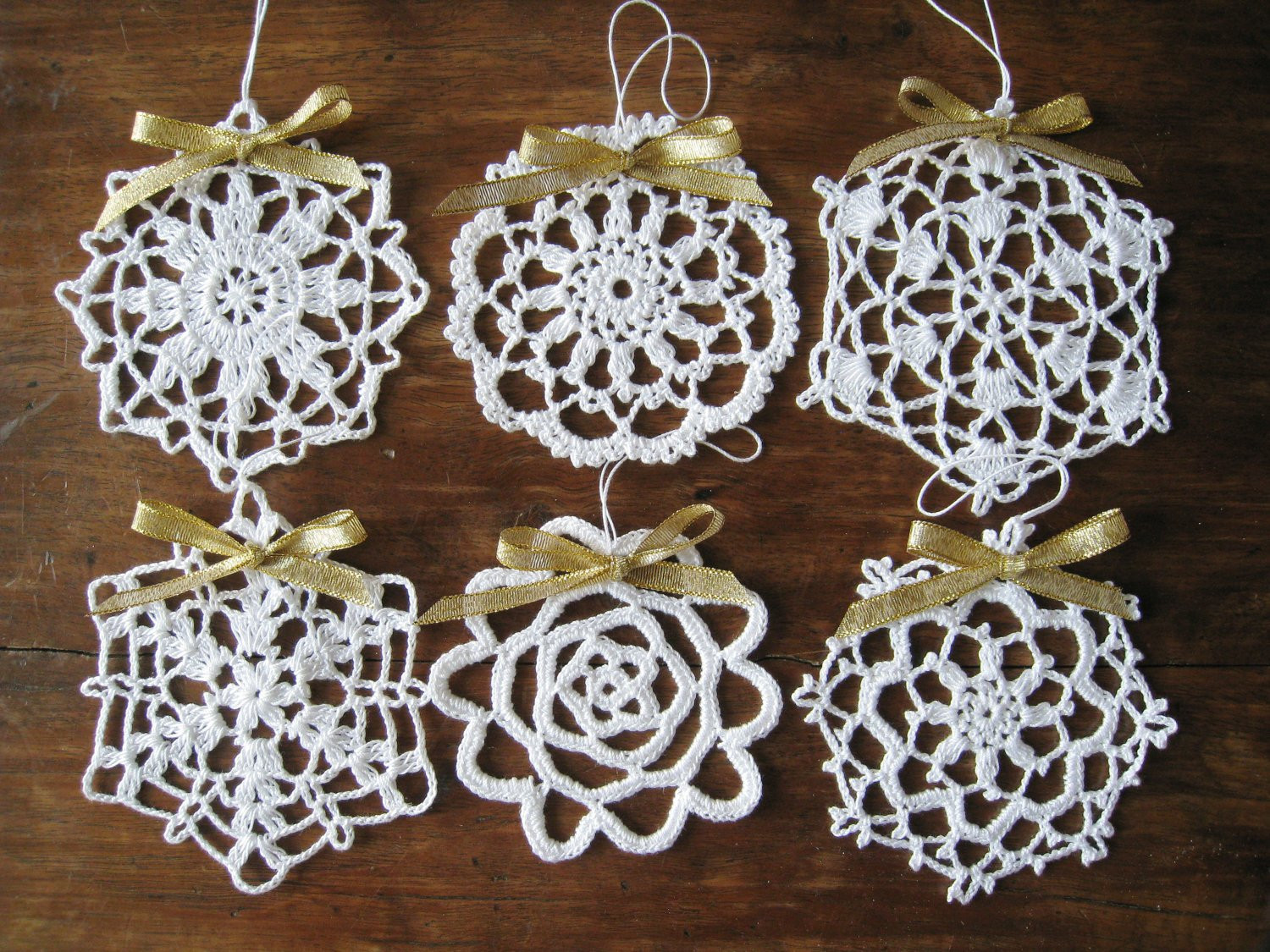 6 Different Crochet Snowflake Ornaments White Wall Hanging
