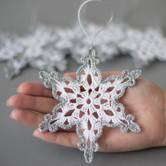 Crochet Snowflake ornaments Luxury Items Similar to Crochet Snowflakes White Silver Decor Of Awesome 49 Photos Crochet Snowflake ornaments