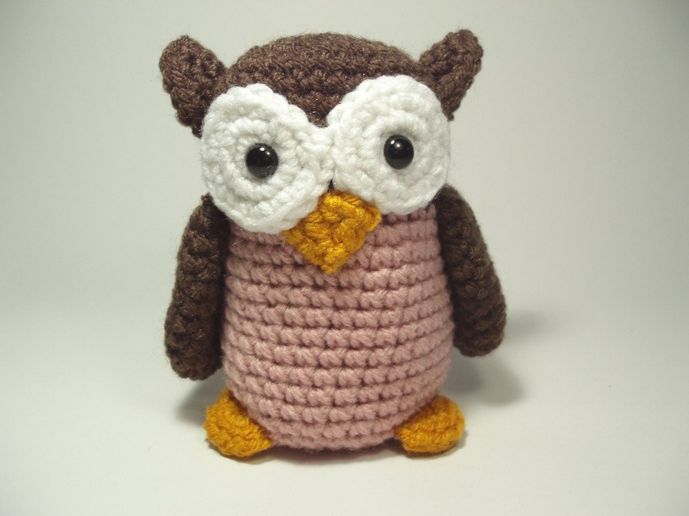 Crochet Stuffed Animals Beautiful Crocheted Owl Stuffed Animal toy Brown and Pink by Of Incredible 42 Images Crochet Stuffed Animals