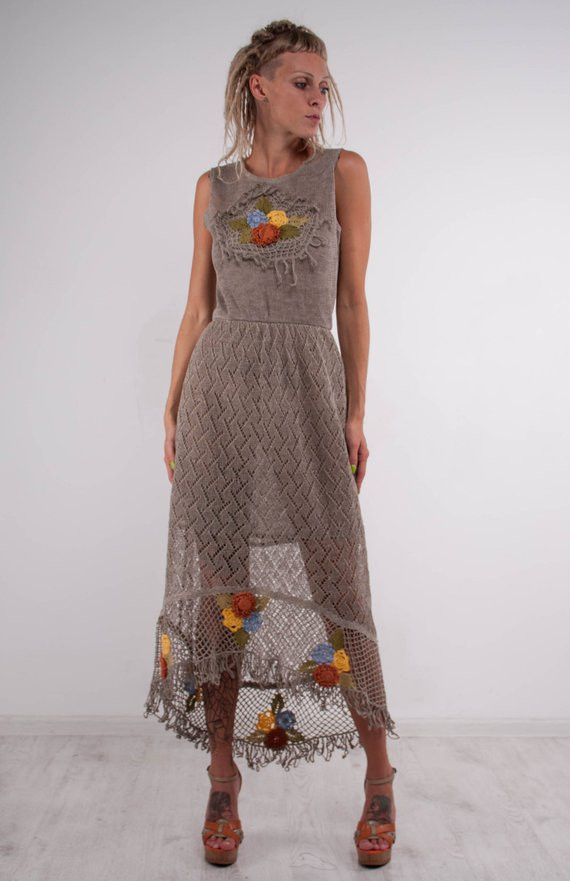 crochet dress crochet grey dress maxi
