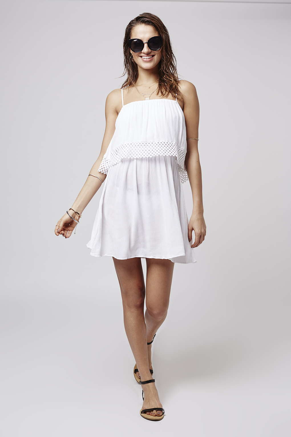 Topshop Crochet Overlay Sundress in White
