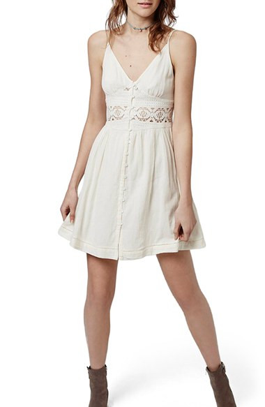 Topshop Crochet Inset Sundress in Natural