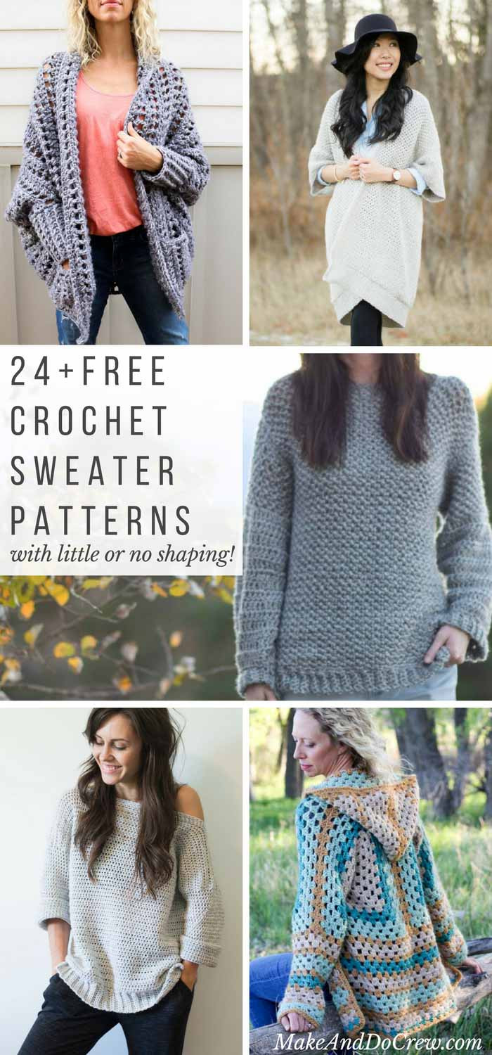 24 Super Easy Free Crochet Sweater Patterns Make & Do Crew