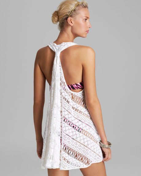 Milly Crochet Drapey Swim Cover Up Tunic in White