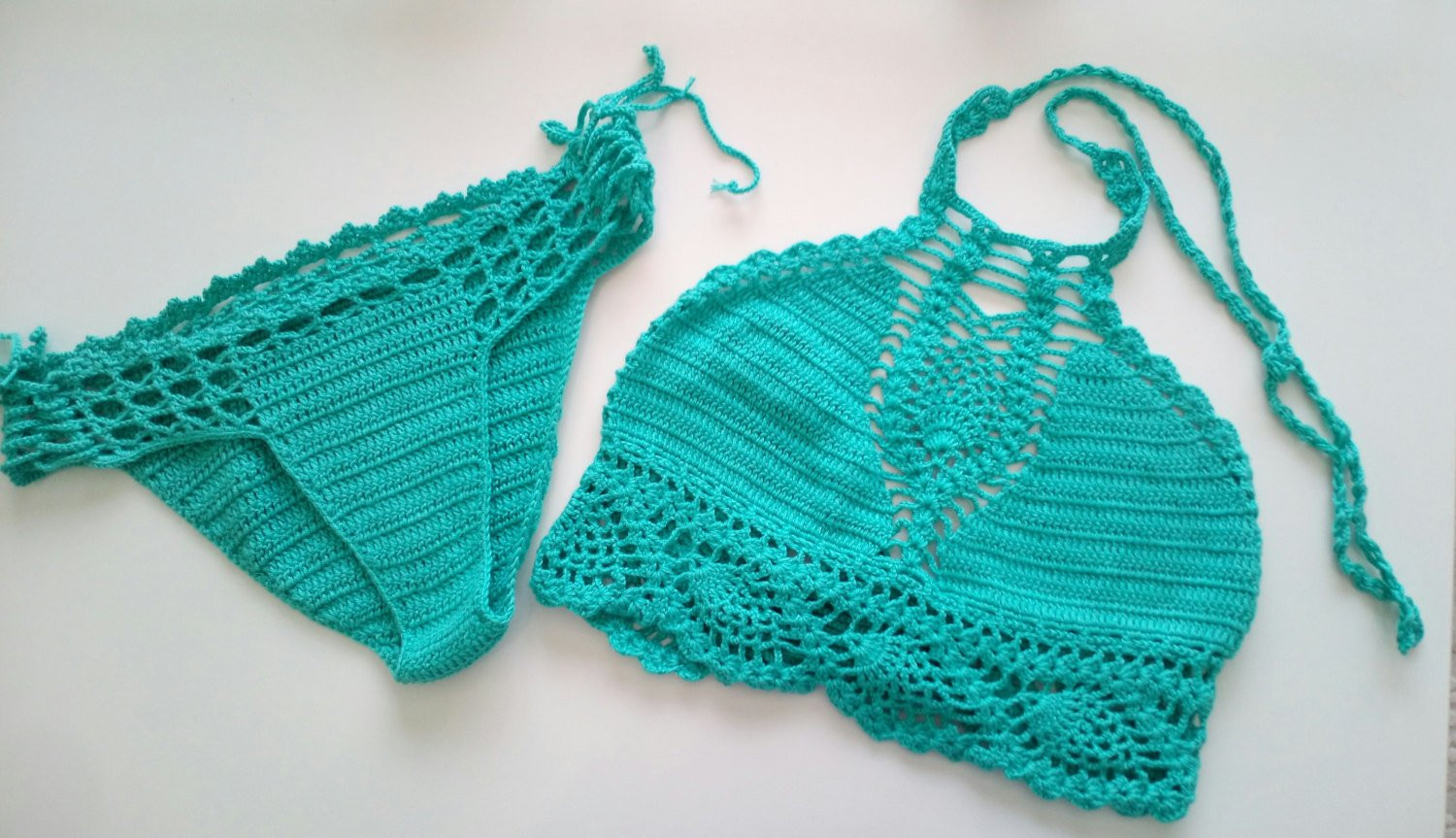 Crochet Swim Suit Elegant Teal Color Crochet Bikini top and Brazilian Bottom Swimwear Of Marvelous 44 Models Crochet Swim Suit