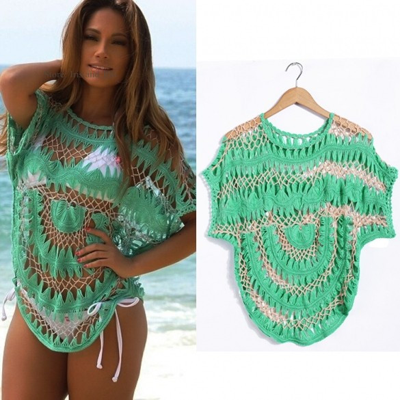 Fashion Women Bathing Suit Beach Cover Up y Lace