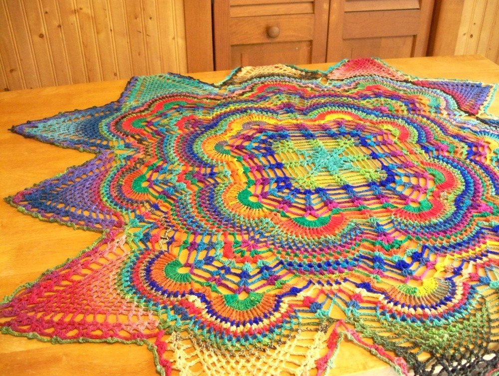 Crochet Tablecloth Beautiful Hand Crocheted Rainbow Tablecloth or Doily by Of Perfect 43 Images Crochet Tablecloth