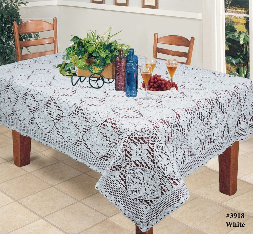 "Crochet Tablecloth Best Of Crochet Lace Tablecloth Rectangular White 60×84"" 60×104 Of Perfect 43 Images Crochet Tablecloth"
