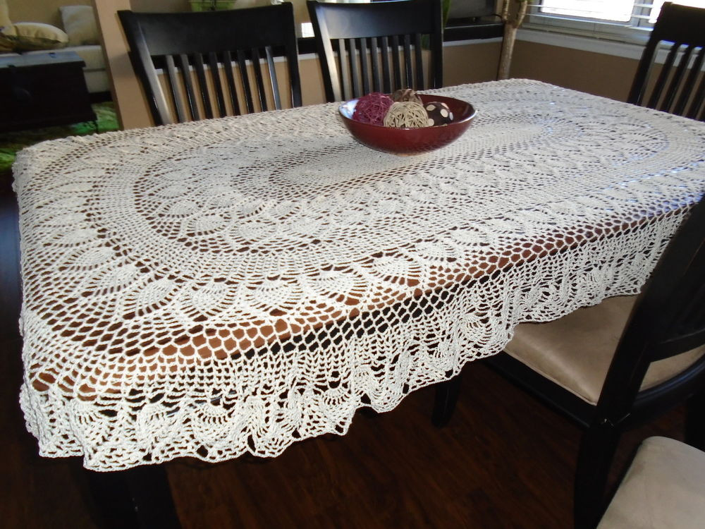 "Crochet Tablecloth Best Of Hand Crochet Old Fashion ""pineapple Oval"" Tablecloth Hand Of Perfect 43 Images Crochet Tablecloth"