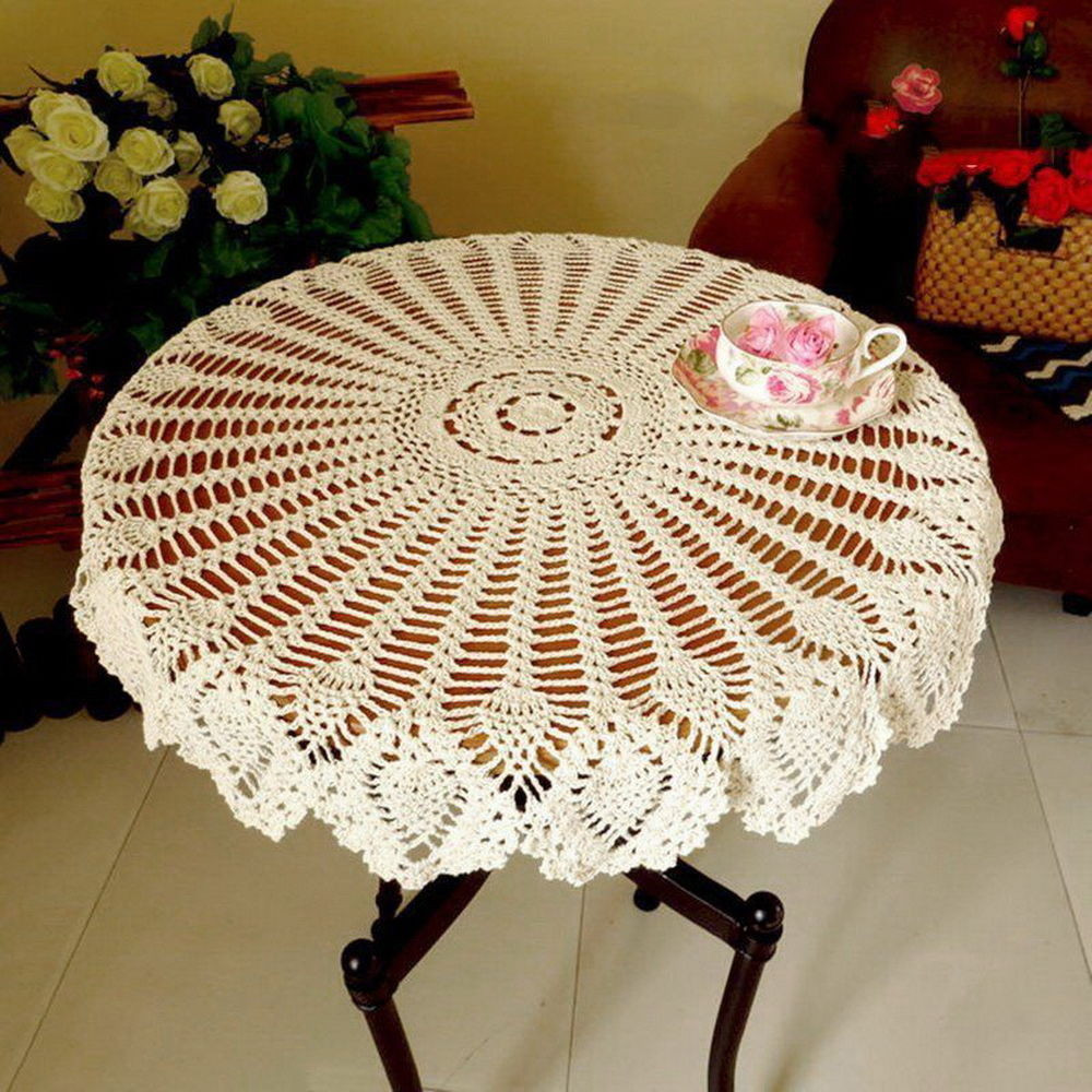 Crochet Tablecloth New Hand Crochet Tablecloth Cotton Hollow Round Table Cover Of Perfect 43 Images Crochet Tablecloth