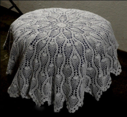 """Round crochet tablecloth table topper 36"""""""