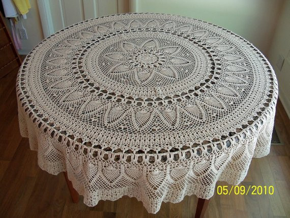Crochet Tablecloth Pattern Lovely Handmade Crocheted Pineapple Tablecloth 70 Inch Round Natural Of Fresh 41 Photos Crochet Tablecloth Pattern