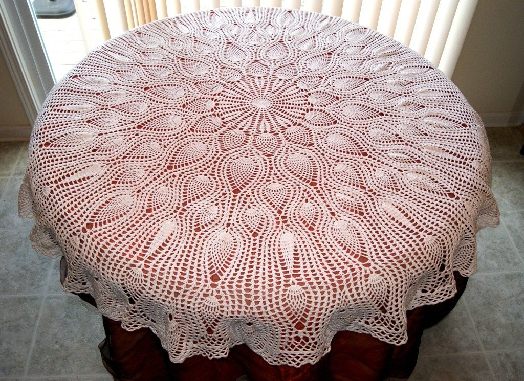 Crochet Pineapple Tablecloth in White Round Afghan Table