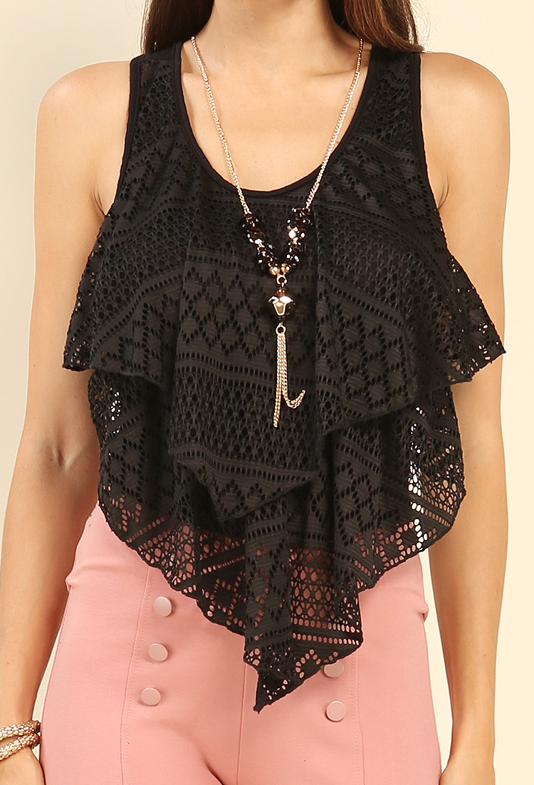 Tiered Crochet Tank Top W Necklace