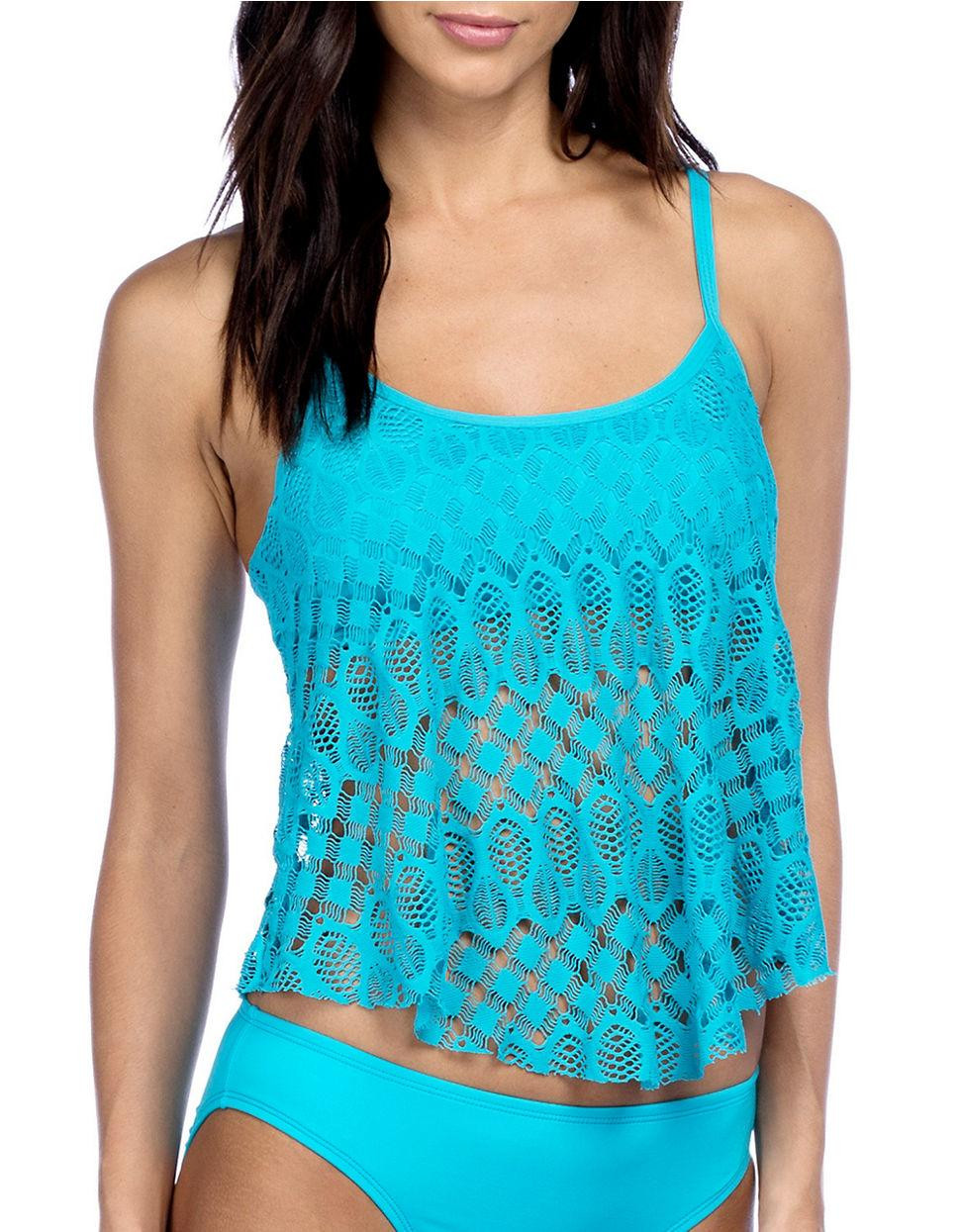 Crochet Tankini Awesome Lyst Kenneth Cole Reaction solid Crochet Tankini In Blue Of Marvelous 47 Pics Crochet Tankini