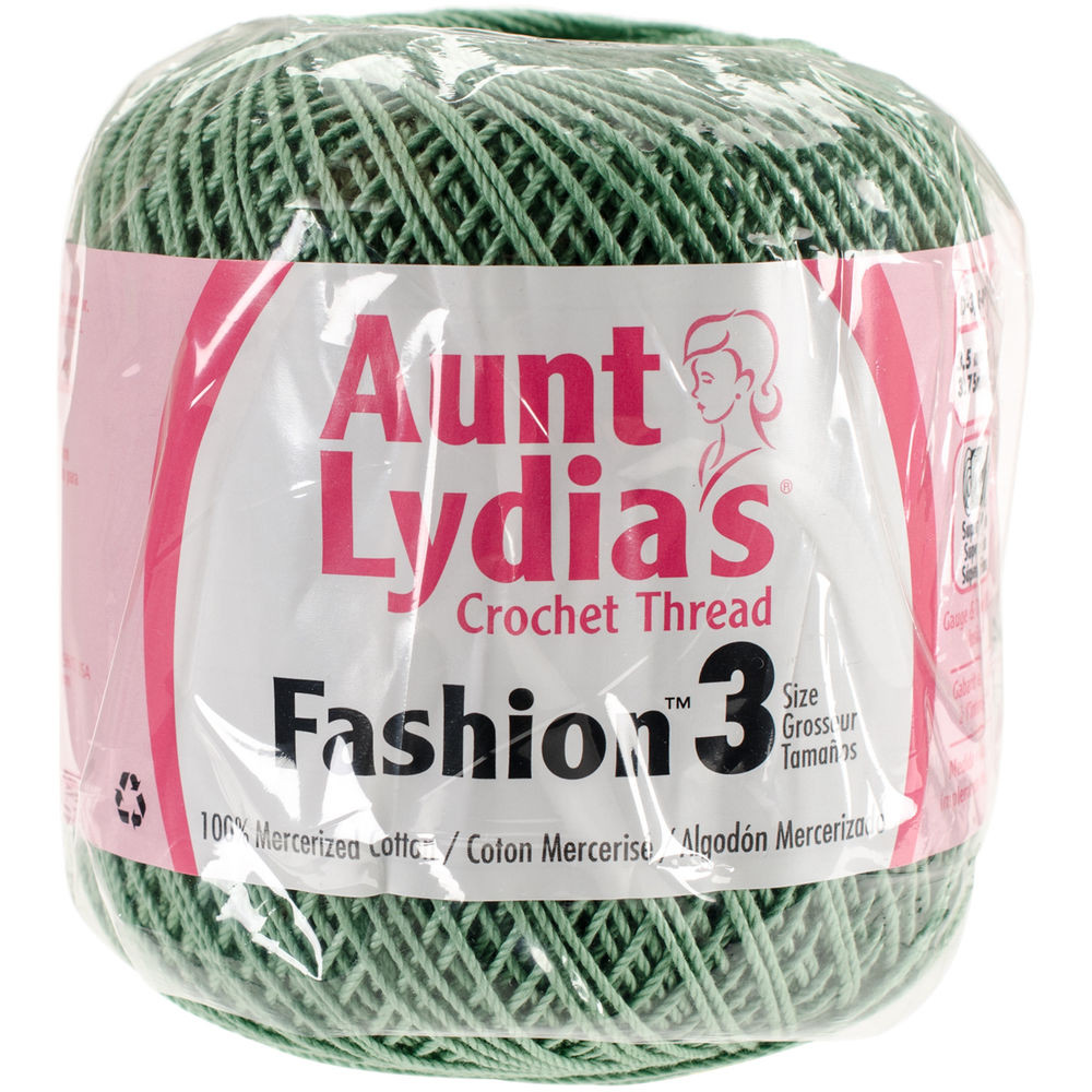 """Aunt Lydia s Fashion Crochet Thread Size 3 Sage Set 3"