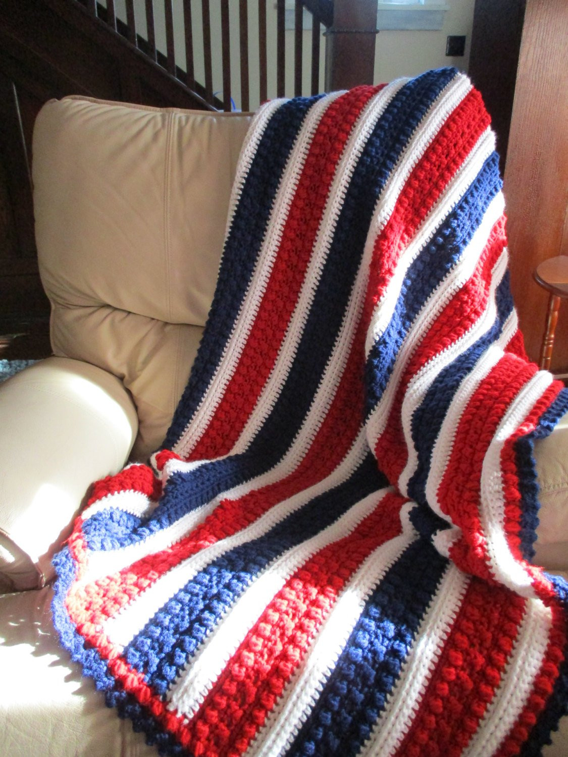 Afghan Red White and Blue Crochet blanket throw blanket