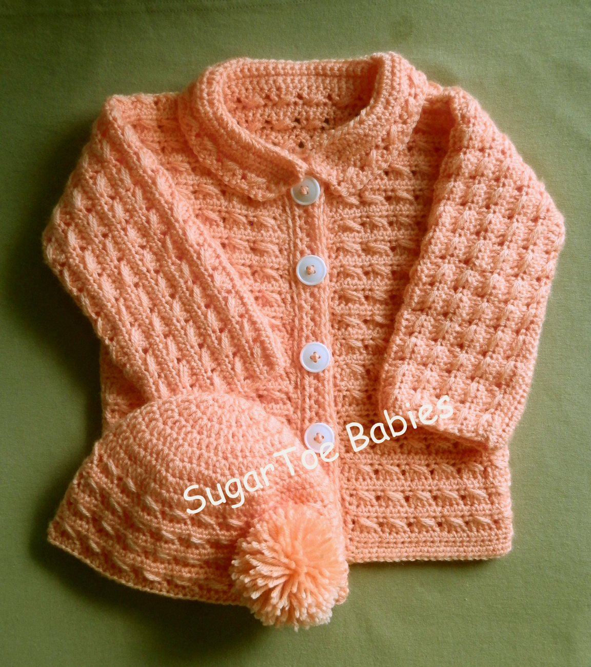 baby girl or boy sweater jacket and hat