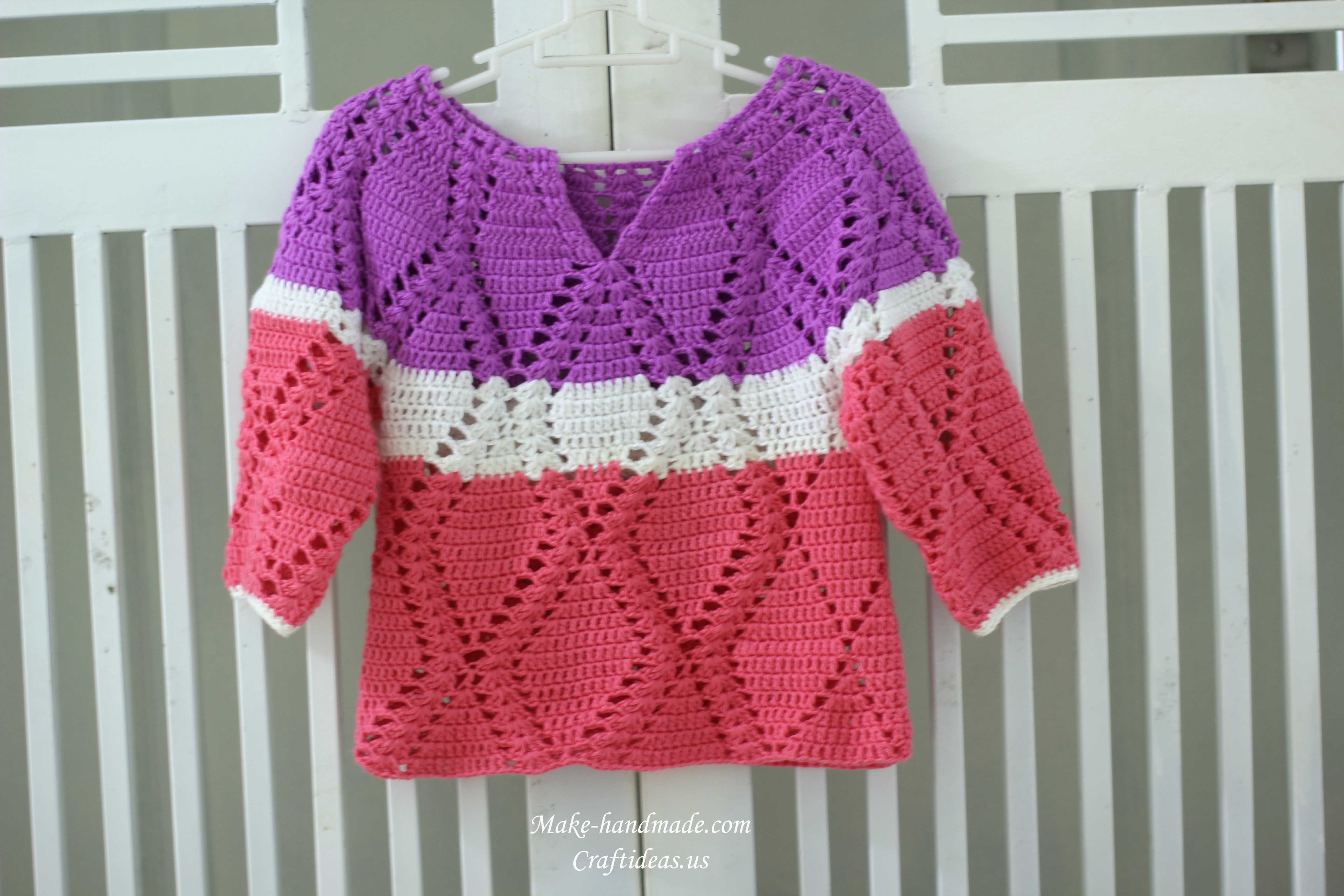Crochet toddler Sweaters Beautiful Crochet Diamond Shapes for Baby Sweater Of Attractive 46 Pictures Crochet toddler Sweaters