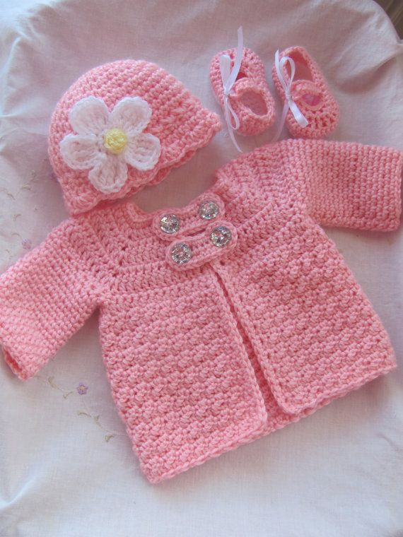 Crochet toddler Sweaters Inspirational 3 Piece Baby Crochet Sweater Jacket Hat and by Of Attractive 46 Pictures Crochet toddler Sweaters