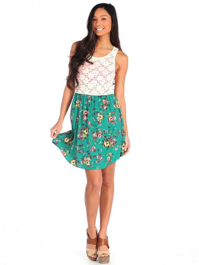 Vintage Havana Floral Crochet Top Dress Green Dresses