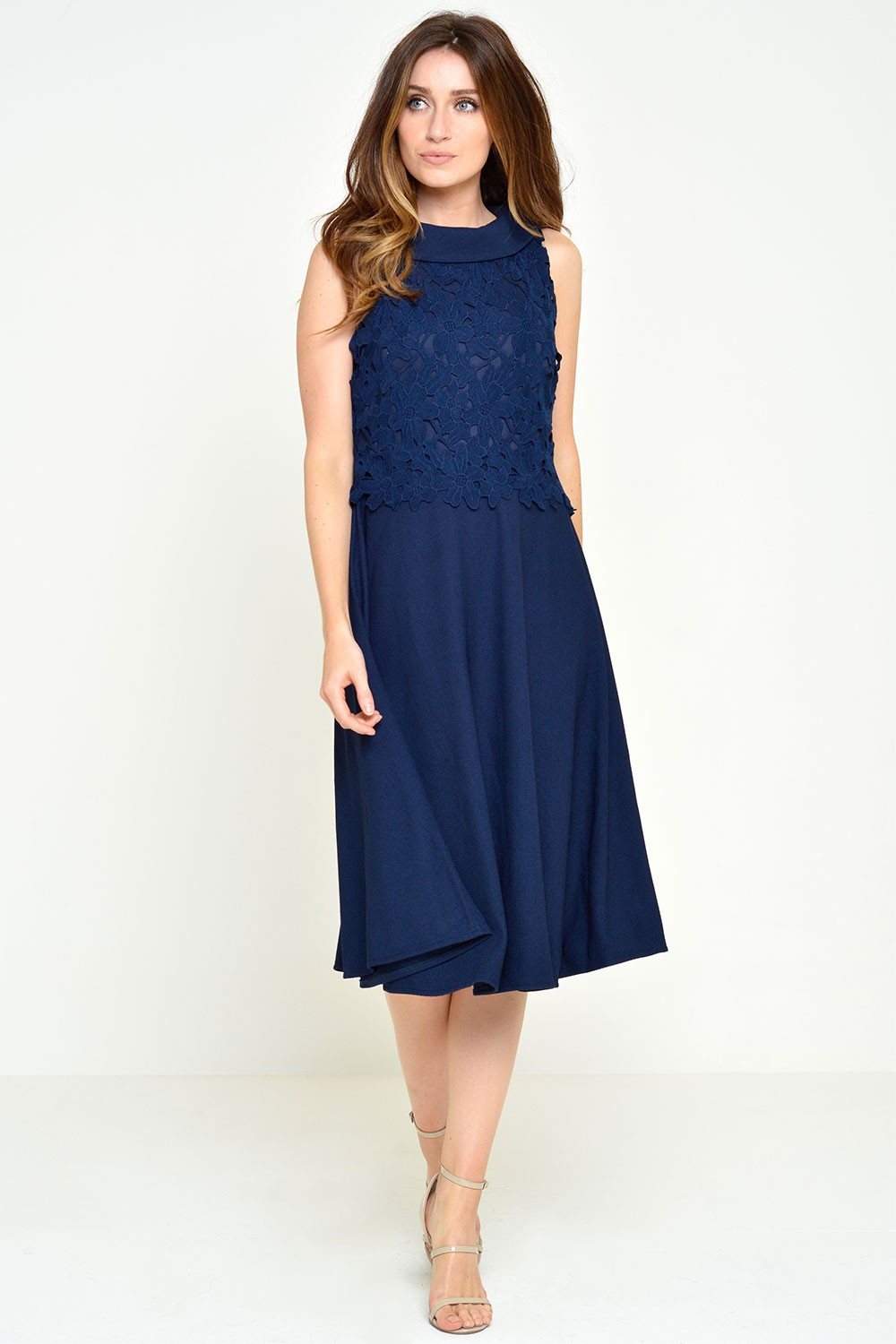 marie crochet top dress in navy