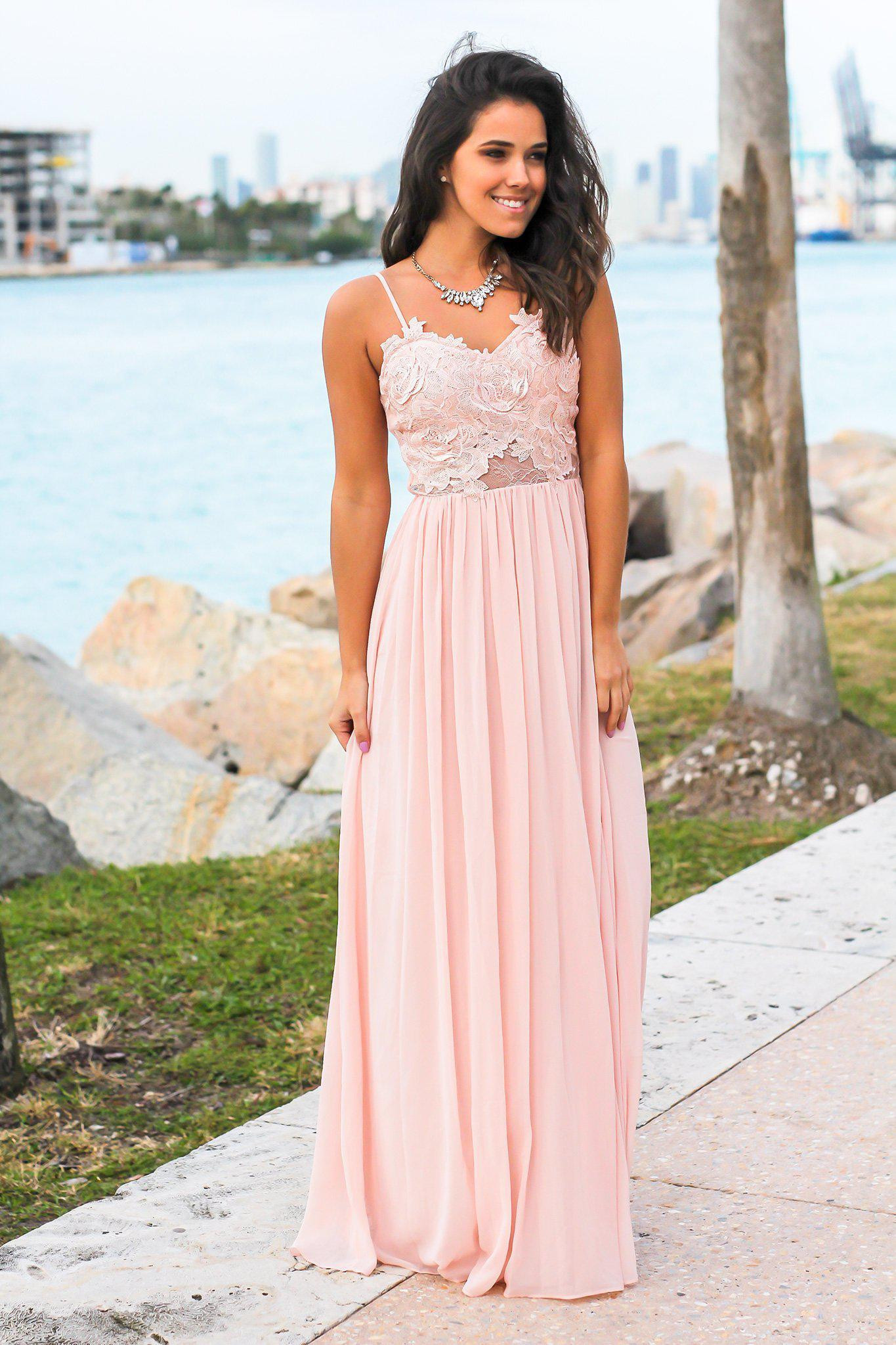 Blush Strapless Maxi Dress with Crochet Top