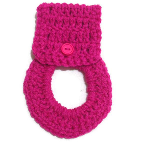 Crochet Towel Ring with Button Closure in Hot Pink
