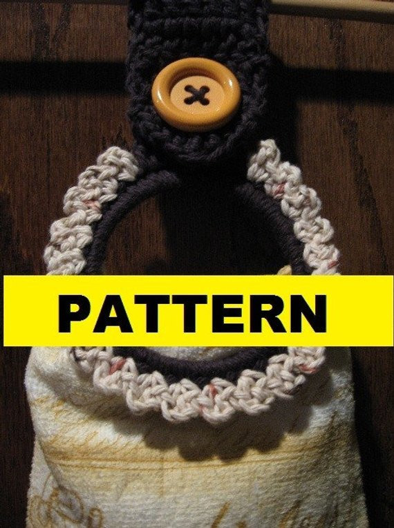 CROCHET PATTERN Button Towel Ring Pattern by