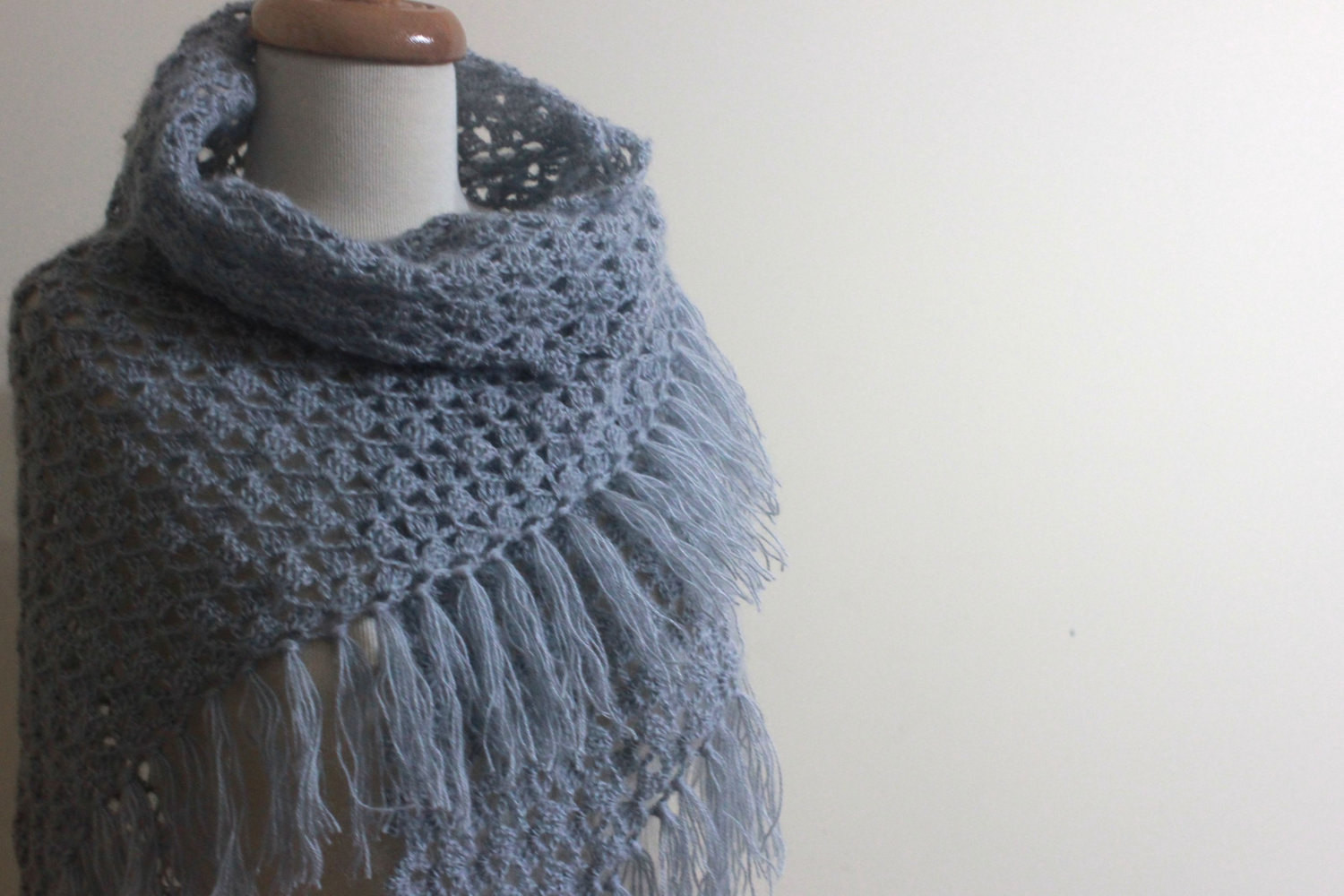 GREY Shawl Crochet Scarf Triangle Wrap Chic Winter by