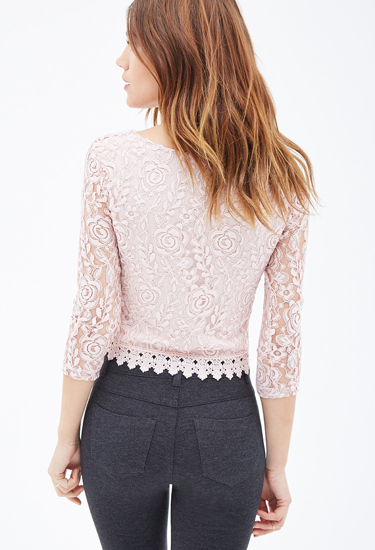 Crochet Trimming Beautiful Lyst forever 21 Crochet Trim Lace top In Pink Of Charming 50 Pics Crochet Trimming