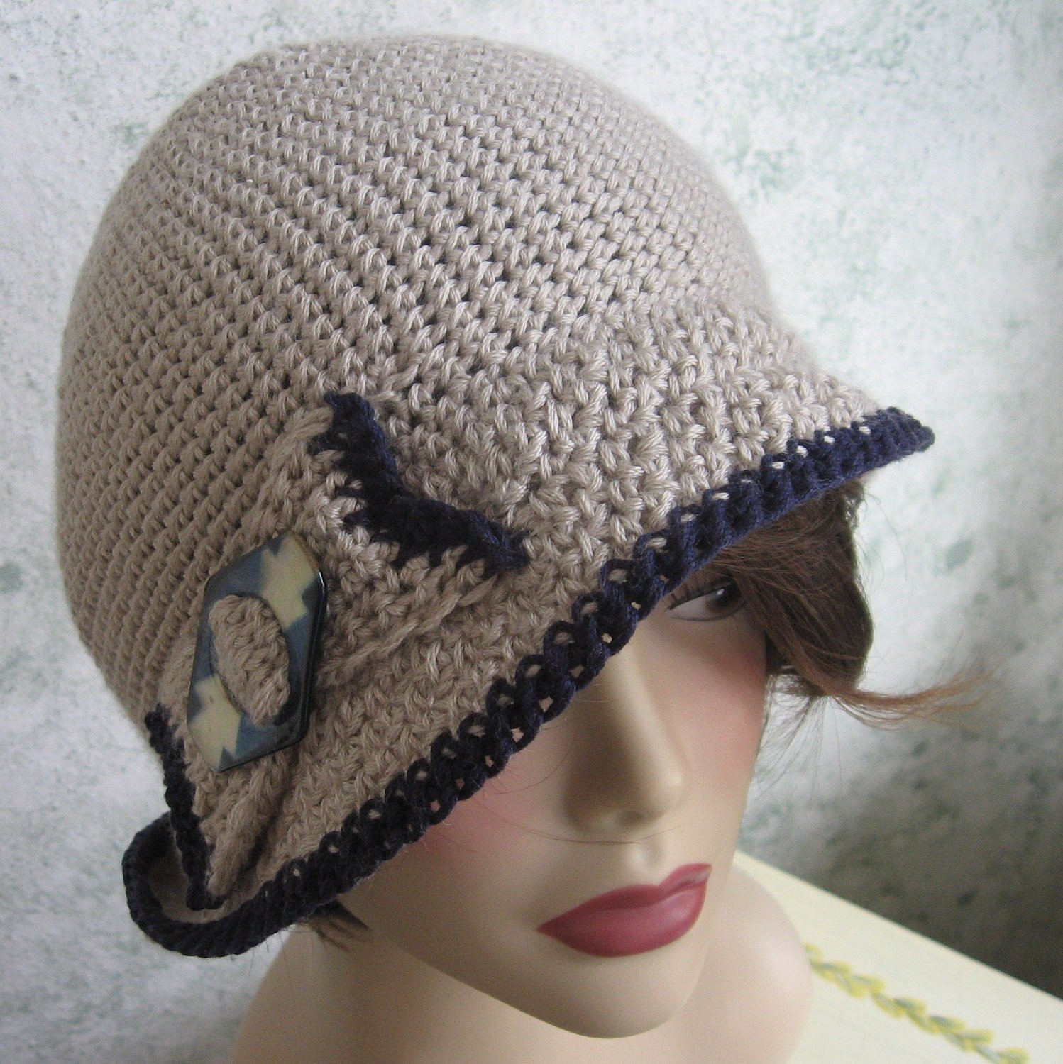 Crochet Pattern Womens Flapper Hat With Bow Trim Instant