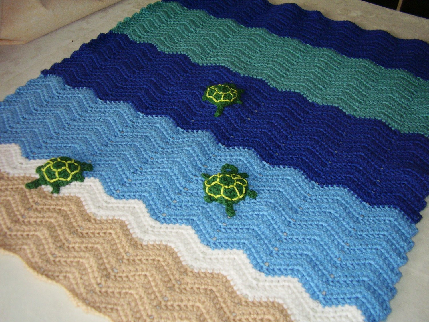 Crochet Turtle Blanket Pattern Best Of Crochet Ocean Waves Turtle Blanket In Sand Blues by Of Brilliant 42 Pics Crochet Turtle Blanket Pattern