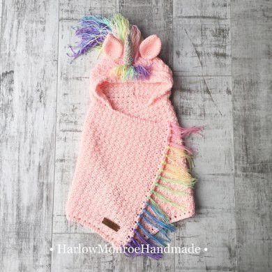 Crochet Unicorn Blanket Awesome Hooded Unicorn Blanket Crochet Pattern by Harlow Monroe Of Charming 44 Ideas Crochet Unicorn Blanket