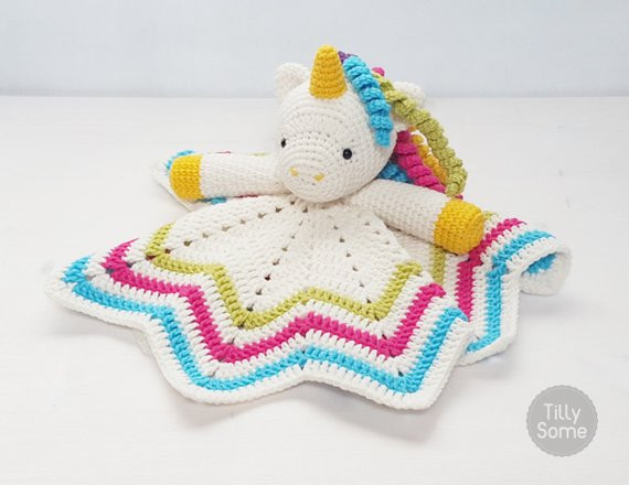 Sweet Unicorn Lovey Pattern Security Blanket by TillySome
